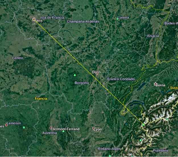 Distancia entre París y Mont Blanc