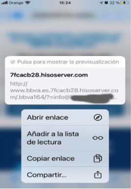 Enlace phishing